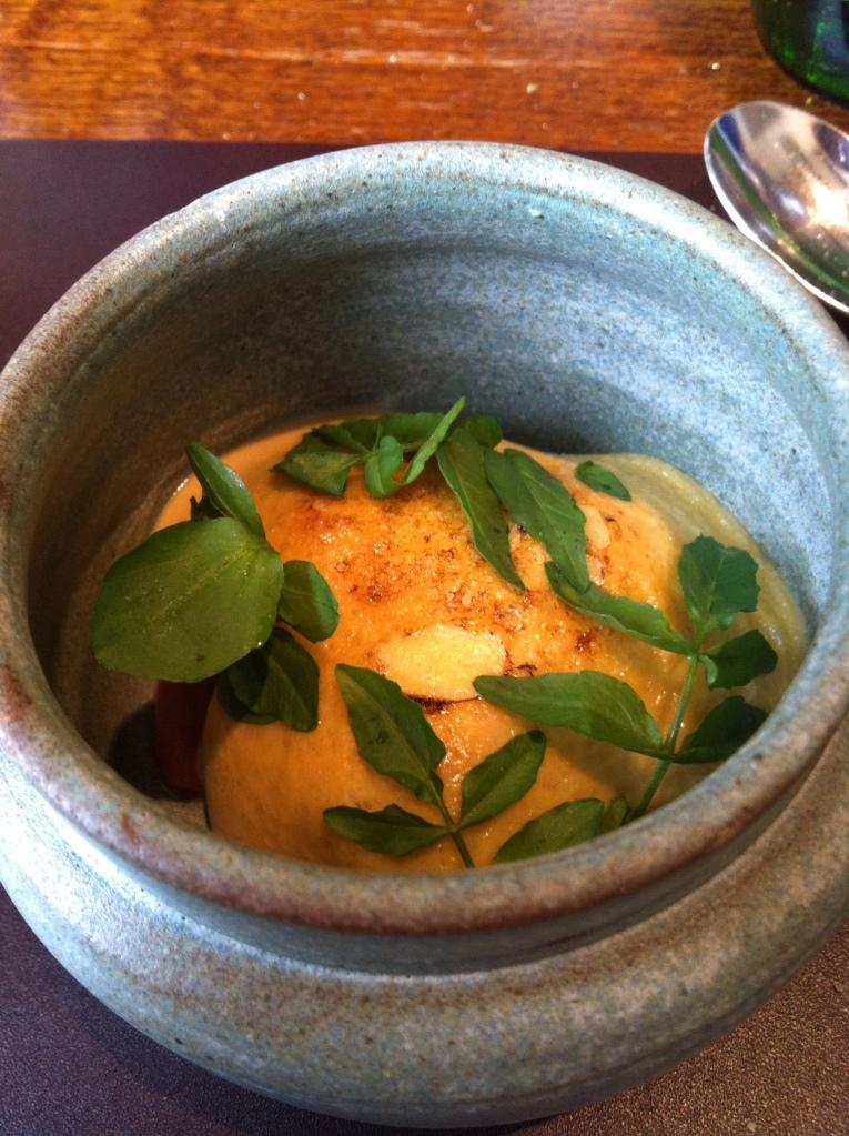 Glazed langoustine, carrot, watercress, raw langoustine, scurvy grass, hazelnuts