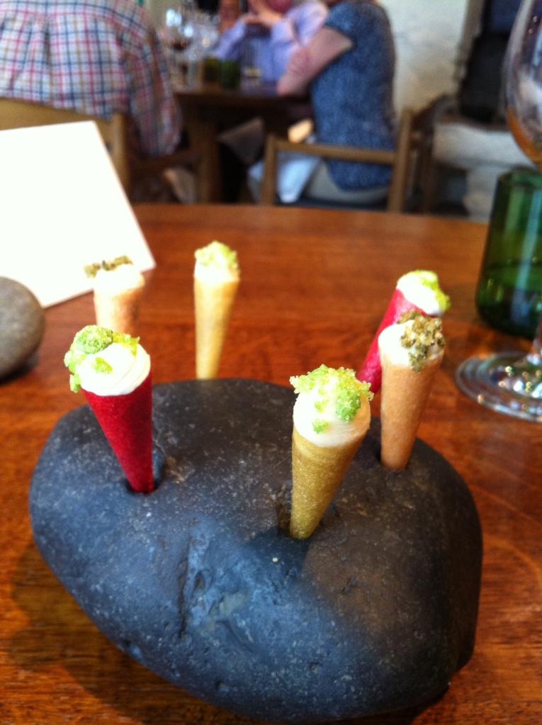 Miniature ice creams of celeriac, sweet cheese, woodruff, douglas fir and apple.